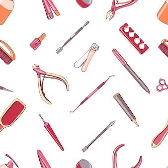 Manicure equipment seamless pattern. hand drawn colorful background.