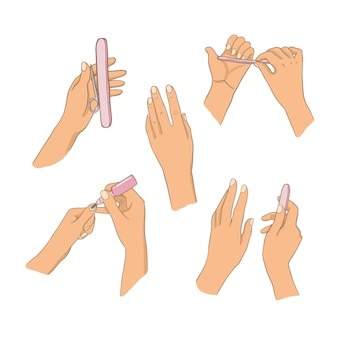 Manicure hand illustration set