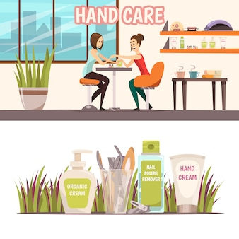 Manicure horizontal banners set