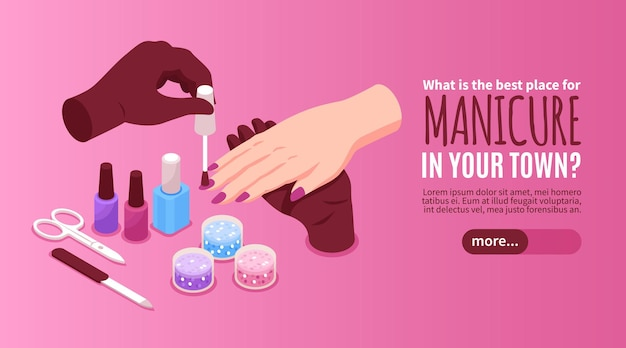 Manicure horizontal web banner with advertising of best beauty salon in town isometric