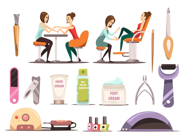 Manicure icons set with nail polish symbols cartoon isolated vector illustration