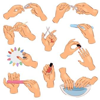 マニキュアの手入れされた手と爪やすりで爪をマニキュアするか、白い背景で隔離されたポーランド語の美しいマニのネイルバーイラストセットのネイリストによってはさみ