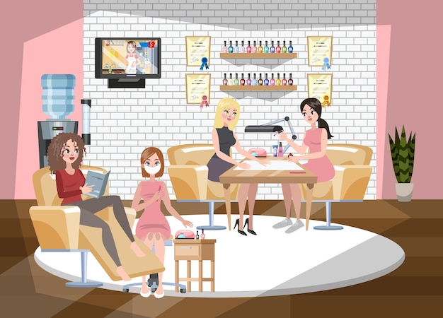 Manicure and pedicure salon interior. woman sitting
