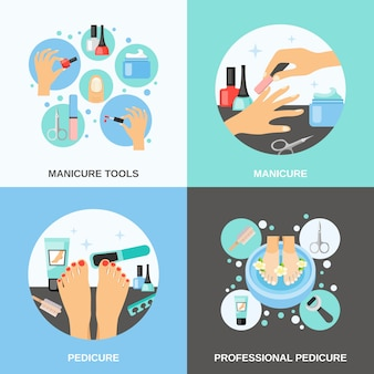 Manicure pedicure vector image set