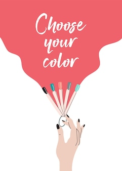 Manicure poster nail varnish samples beauty studio and salon for flyer banner prints