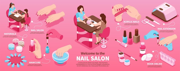 Manicure salon isometric infographics layout promoting new materials nail extension book online