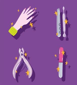 매니큐어 세트, 손 네일 파일 큐티클 푸셔 및 트리머 도구 만화 스타일 디자인