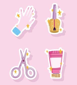 매니큐어 세트, 매니큐어 손 가위 및 크림 도구 만화 스타일 디자인