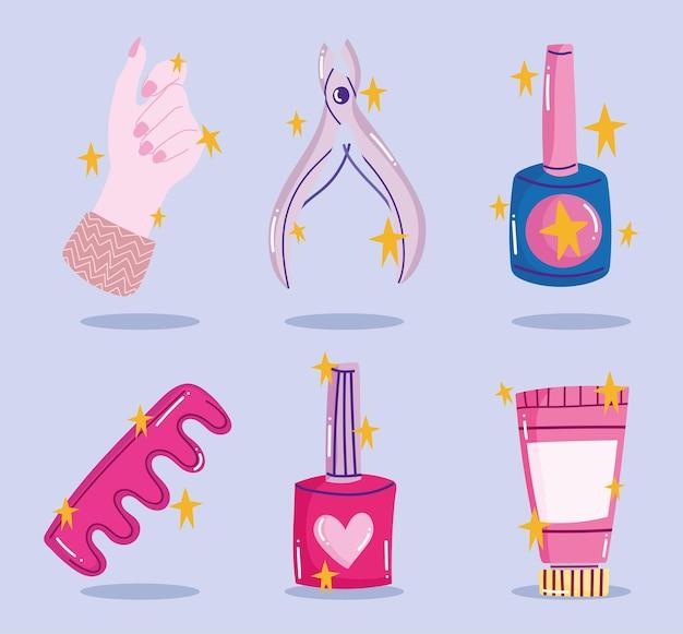매니큐어 세트, 도구 매니큐어 손가락 분리기 크림 및 큐티클 트리머 만화 스타일 디자인