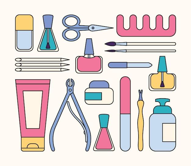 매니큐어 도구 및 액세서리 네일 매니큐어 주제에 대한 요소 집합