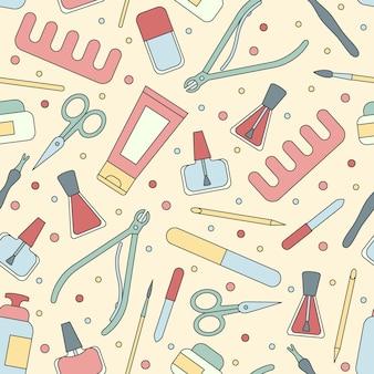 マニキュアツールとアクセサリーシームレスパターンイラスト背景