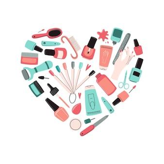 매니큐어 도구 하트 모양 키트. 액세서리, 장비 세트: 매니큐어, 파일, 가위, 핸드 크림, 전기 드릴, uv 램프, 큐티클 니퍼 등 doodle vector illustration