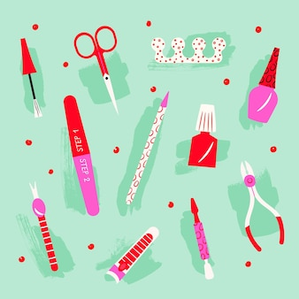 Manicure tools illustration collection