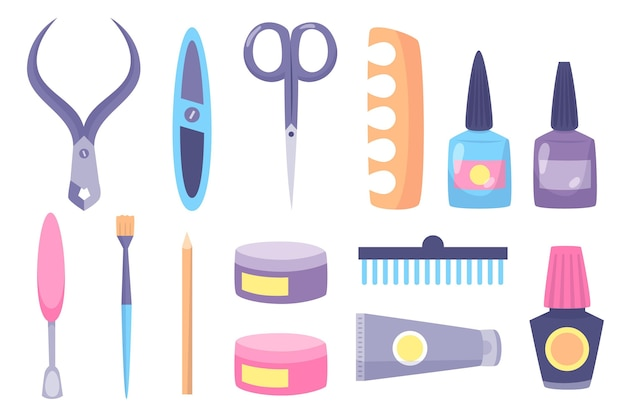 Manicure tools illustration concept