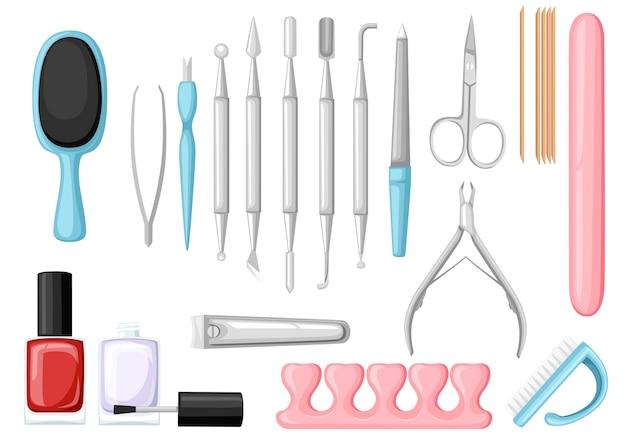 매니큐어 도구 세트. 다채로운 아이콘 모음입니다. 미용실 또는 화장품 가방, 일러스트레이션 도구