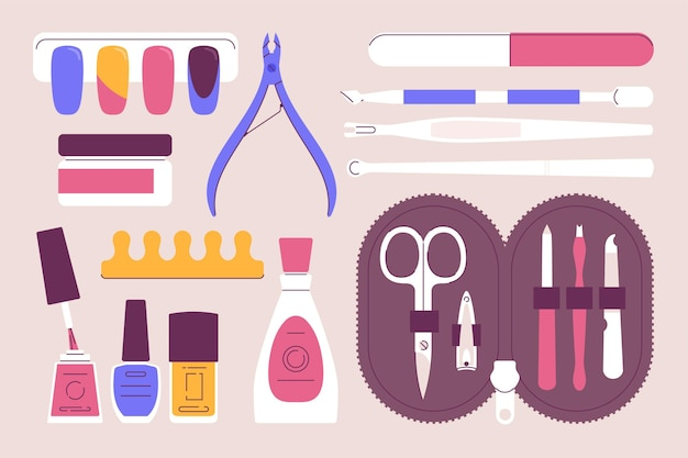 Manicure tools set illustrated