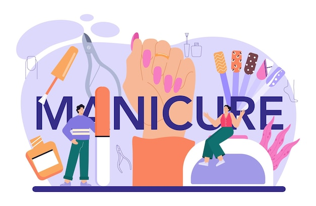 Manicure typographic header beauty salon worker nail treatment