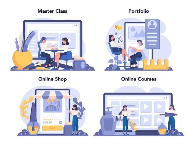 매니큐어 사 온라인 서비스 또는 플랫폼 세트. 미용실 노동자.