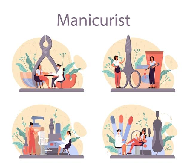 매니 큐 어사 서비스 개념을 설정합니다. 미용실 노동자. 네일 트리트먼트 및 디자인. 매니큐어 마스터가 매니큐어를하고 있습니다. 격리 된 벡터 일러스트 레이 션