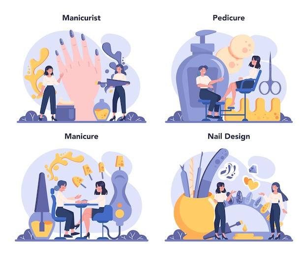 매니 큐 어사 서비스 개념을 설정합니다. 미용실 노동자. 네일 트리트먼트 및 디자인. 매니큐어 마스터는 매니큐어, 페디큐어 및 네일 디자인을하고 있습니다. 격리 된 벡터 일러스트 레이 션