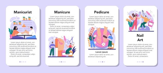 ネイリストサービスモバイルアプリケーションバナーセット。美容院の労働者。ネイルトリートメントとデザイン。マニキュアマスターは、マニキュア、ペディキュア、ネイルアートを行っています。孤立したベクトル図