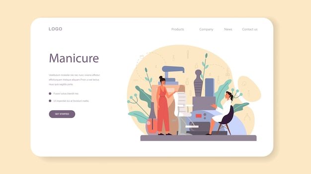 Manicurist service web banner or landing page