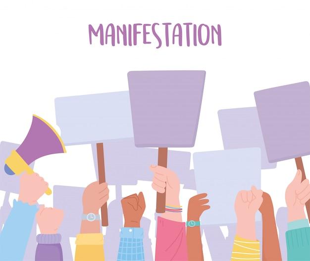 症状抗議活動家、メガホンとプラカードのイラストを使用して手を上げる人々の群衆