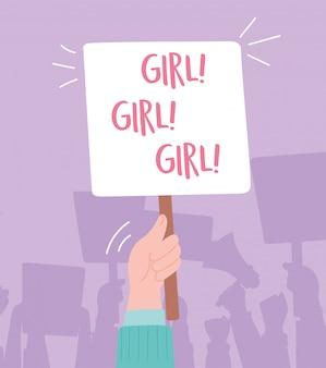 症状の抗議活動家、女の子メッセージ漫画とボードを持っている手