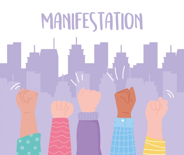 Manifestation protest activists, hands up message protesting in the city