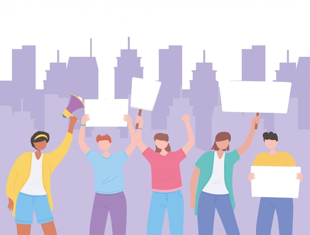 症状抗議活動家、男性と女性が一緒に立って、空白のバナーイラストを保持