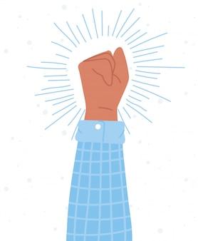 症状抗議活動家、挙手拳の社会的行動 Premiumベクター