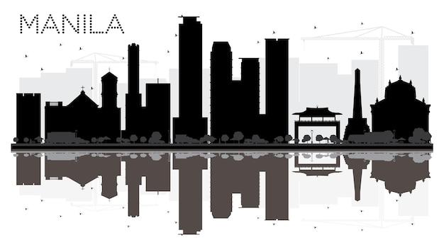 マニラ市のスカイラインの黒と白のシルエットと反射。ベクトルイラスト。観光プレゼンテーション、バナー、プラカードまたはwebサイトのシンプルなフラットコンセプト。ランドマークのある街並み。