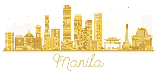 マニラフィリピンの街のスカイラインの黄金のシルエット。ベクトルイラスト。出張の概念。ランドマークのある街並み。