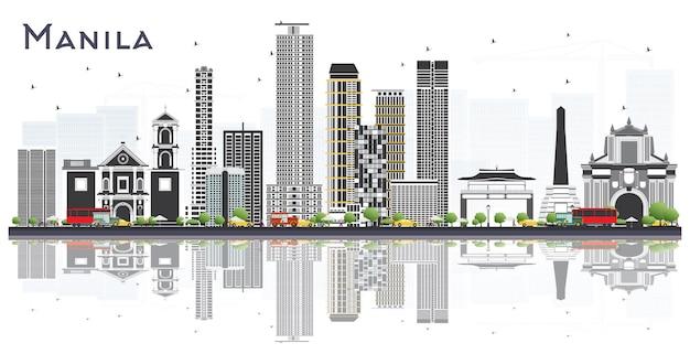 白で隔離灰色の建物とマニラフィリピンの街のスカイライン。ベクトルイラスト。歴史的建造物とビジネス旅行と観光の概念。ランドマークのあるマニラの街並み。