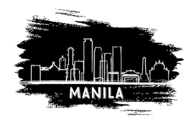 マニラフィリピンスカイラインシルエット。手描きのスケッチ。ベクトルイラスト。近代建築とビジネス旅行と観光の概念。プレゼンテーションバナープラカードとwebサイトの画像。