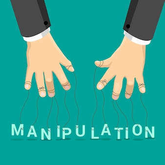 Manipulation marionette concept  illustration. businessman hands with rope on fingers manipulate letters on emerald background. puppet letter show.