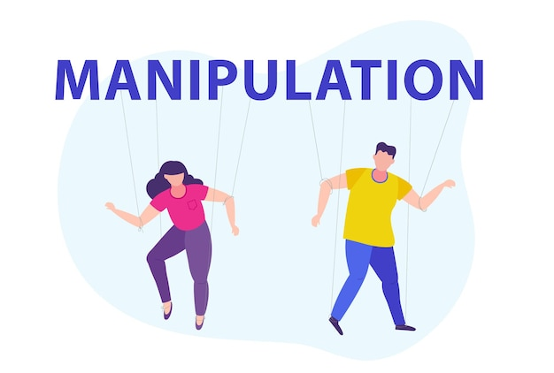 Manipulation of people puppets worker on ropes