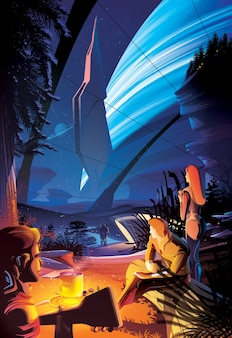 キャンプファイヤーを楽しむ未来の人類