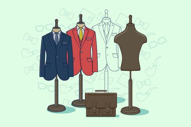 服のマネキン。小売用ダミーのファッション衣類。