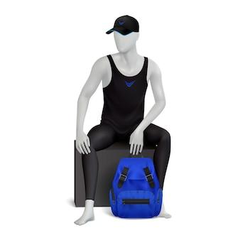 파란색 배낭과 검은 옷을 입고 성인 남성 모델의 인간의 모습으로 마네킹 현실적인 구성