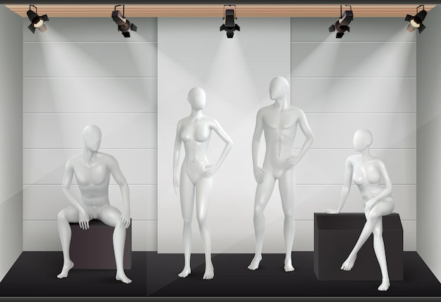 Mannequins realistic composition with view of shop display with light equipment and glazed human body models