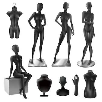 Манекены для женщин реалистичный черный набор изображений