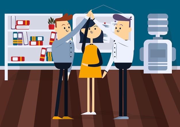 Мужчина и женщина поднимают руки в знак успеха в бизнесе цветной мультфильм
