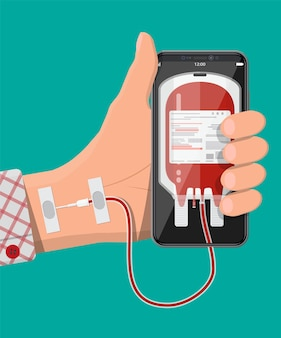 Mans hand connected to mobile smart phone with blood bag. addiction from gadget with social media. addicted to social networks, chatting and messaging. vector illustration in flat style