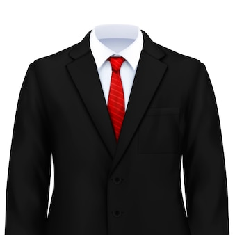 Mans suit realistic composition with smart costume with white shirt tie and jacket