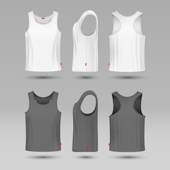Mans white blank tank singlet. male shirt without sleeves vector template.
