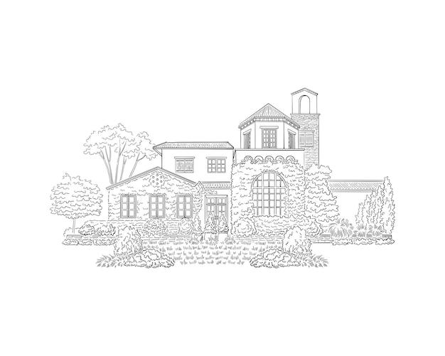 邸宅、不動産、歴史的建造物のランドマーク。