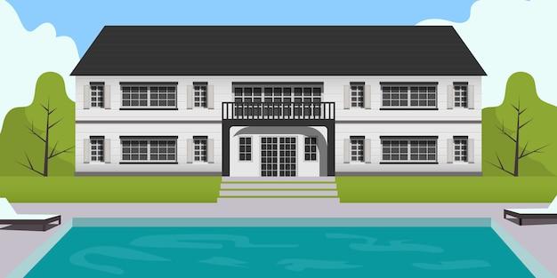 뒤뜰에 수영장이있는 맨션 하우스