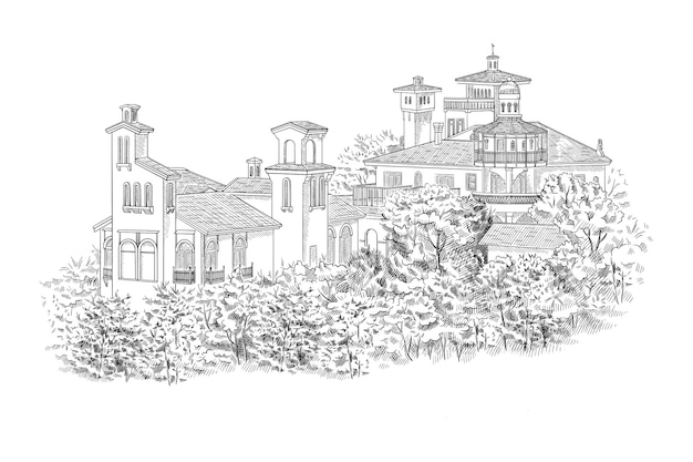 맨션, 빌라, 컨트리 부동산. 집 앞에 나무와 관목이있는 역사적인 건물.