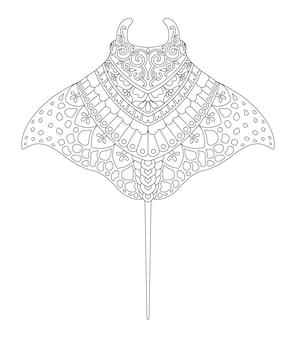 Manta mandala design for coloring page print